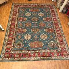 #L00476 FINE QUALITY 100% WOOL HANDWOVEN KAZAKH RUG SIZE 9'X12'
