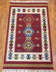 TRADITIONAL STYLE HANDWOVEN FLAT WEAVE RUG SIZE 3'X5'