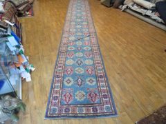 "#1113 ANTIQUE LOOK 100% PURE WOOL KAZAKH RUNNER SIZE 2'7""X16'7"""