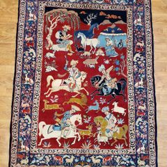 #6008 ANTIQUE HANDWOVEN PERSIAN HUNTING SCENE RUG SIZE 4'X6'