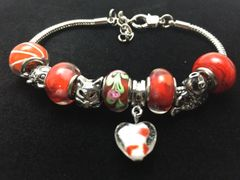 Red and Silver Beaded Bracelet