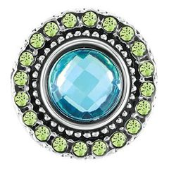 Ginger Snaps HEIRLOOM - Turquoise Color Surrounded w/Light Lime Green Rhinestones