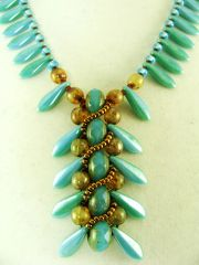 Turquoise Czech Glass Dagger Necklace with Copper Chain
