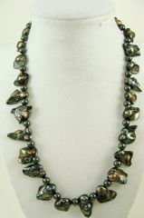 Black Pearl and Czech Glass Necklace