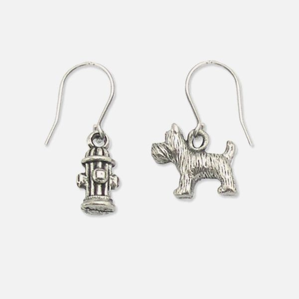 Dog & Fire Hydrant Pewter Earrings
