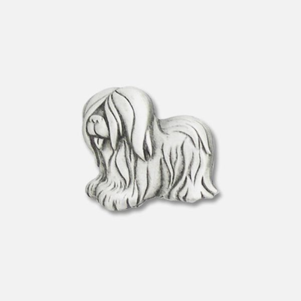 Dog Shaggy Pin Pewter