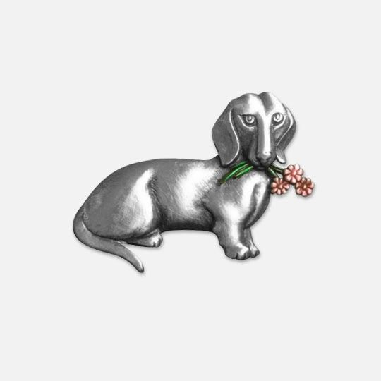 Dachshund with Flowers Pewter Pin