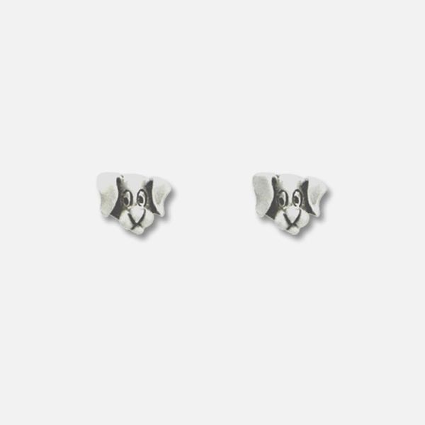 Dog Head Earring Pewter