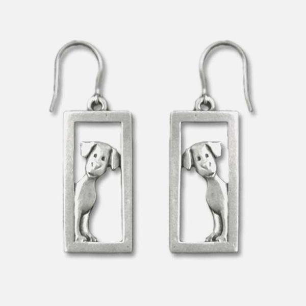 Dog Peeking In Frame Earring Pewter