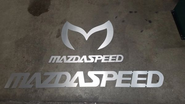 Mazdaspeed Logo & Evil M Logos - Wall Art for Garage - Home - Mancave