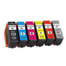 Epson 312XL T312xl120 Black T312xl220 Cyan T312xl320 Magenta T312xl420 Yellow T312XL520 Light Cyan T312XL620 Light Magenta T314XL720 Gray T314XL820 Red Compatible Inkjet Cartridge