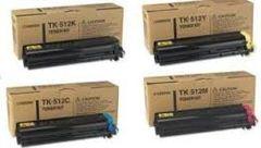Kyocera Mita 0T2F30US, 1T02F30OUS0, TK512K Black, 0T2F3CUS, 1T02F3CUS0, TK512C Cyan, 0T2F3BUS, 1T02F3CUS0, TK512M Magenta, 0T2F3AUS, 1T02F3AUS0, TK512Y Yellow TK512 Genuine Toner Cartridge