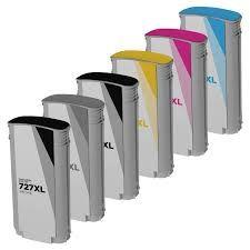 HP 727 B3P23A Photo Black B3P22A Matte Black B3P19A Cyan B3P20A Magenta B3P21A Yellow B3P24A Gray Compatible Inkjet Cartridge