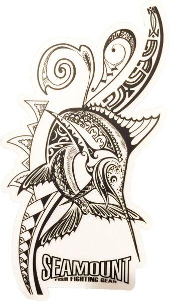"""Tahitian Marlin Tattoo Sticker- 3""""x6"""" clear background"""