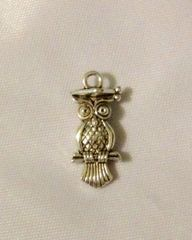 1240. 2 sided Studious Owl Pendant