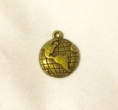 82. Antique Bronze World Globe Pendant