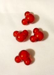 1351. Red Mickey Minnie Beads 5 pieces