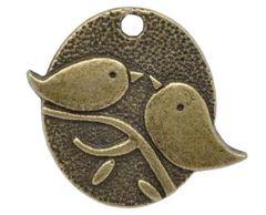 748. Oval Bronze Chickadee Pendant