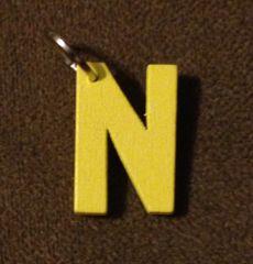 941. Wood Letter N Pendant