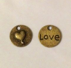 1166. Antique Bronze Round Heart Love Pendant