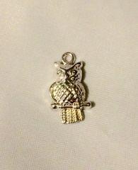 1381. Bright Silver Owl on Perch Pendant