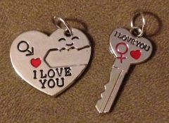 1000. Heart with Key Pendant Set
