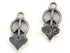 435. Peace Sign with Heart Pendant