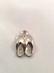 20. Acrylic silver pair of flip flops pendant