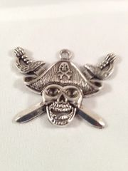1. Tibetan Style antique Silver Pirate Skull Pendant