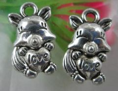 767. Pig with Love Heart Pendant