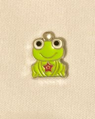 1642. Enameled Light Green Frog Pendant