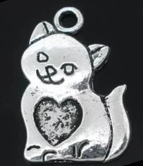 175. Cat with Heart Pendant
