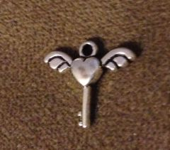 406. Heart Key with Wings Pendant