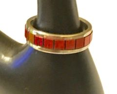1678. Stainless Steel Red Rainbow Ring