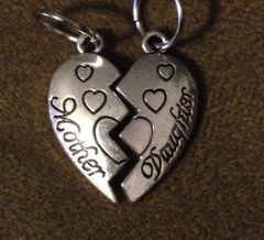 968. Mother Daughter Split Heart Pendants