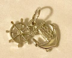 1794. Acrylic Boat Wheel & Anchor Pendant