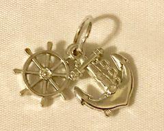 1794. Acrylic Boat Wheel & Anchor Pendant