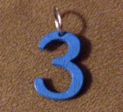 958. Wood Number 3 Pendant
