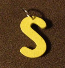 946. Wood Letter S Pendant