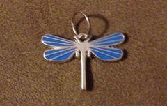 644. Blue Enameled Dragonfly Pendant