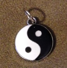 918. Black and White Enameled Yin Yang Pendant