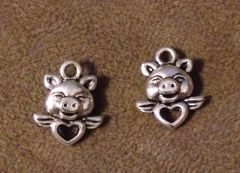 766. 2 sided Pig with Heart and Wings Pendant