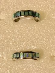 1682. Stainless Steel Green Rainbow Ring
