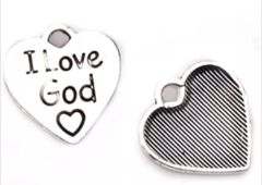 298. 'I Love God' Heart Pendant