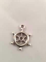 16. Antique silver boat ship steering wheel Pendant