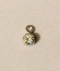 1504. April Birthstone White Rhinestone Pendant