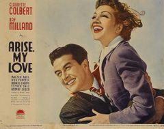 Arise, My Love Claudette Colbert, Ray Milland, Dennis O'Keefe DVD 1940