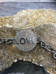 All Diamond Disc LOVE Bracelet with Diamond Clasp