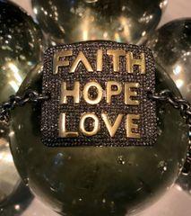 Large Faith Hope Love Diamond ID Bracelet