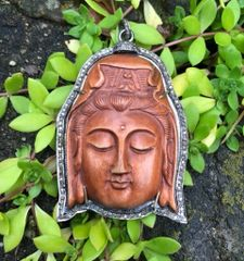 Large Sandalwood Carved Buddha with Diamond Surround on Oxidized Sterling Silver Chain